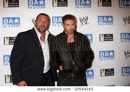 LOS ANGELES - AUG 11:  Triple H, Kellan Lutz arriving at the