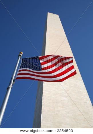 Us Flag And Washington Monument