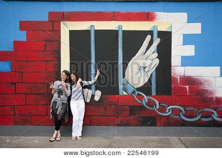 Peace Fingers On Berlin Wall
