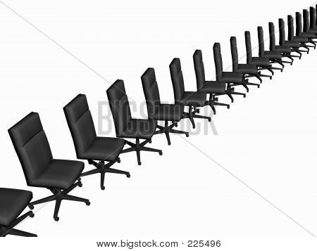 Office Chairs Over White.
