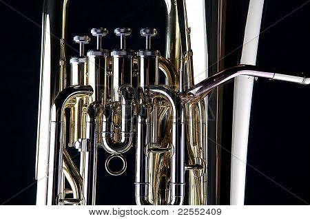 Bass Tuba Euphonium Isolated On Black
