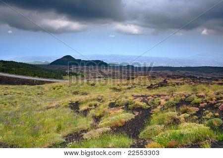 Mountain Road On Volcano Etna