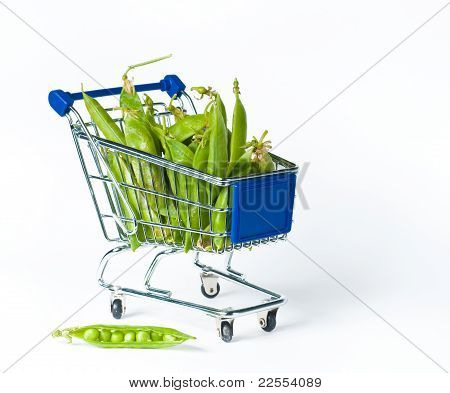 metal shopping trolley filled with green pies