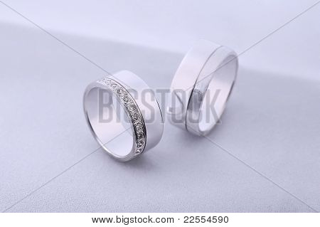 Diamond Wedding Rings On White Background