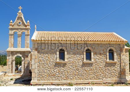 Traditional church at Lakithra village of Kefalonia