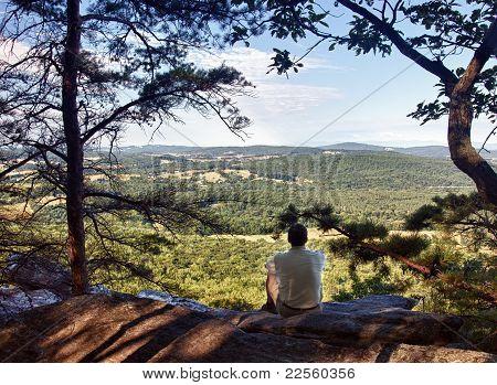 Senior Hiker Overlooks Virginia