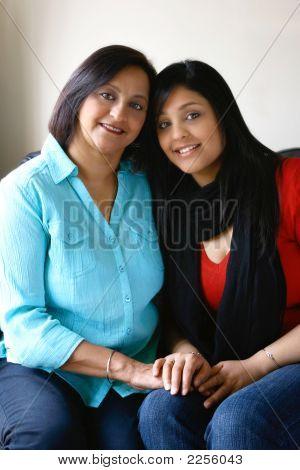 Beautiful Mother And Daughter Of Asian Origin.