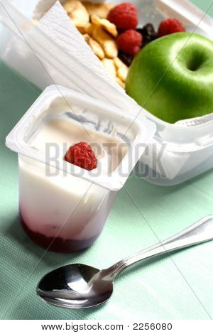 Quick And Convenient Snack Or Light Lunch Pack Made Up Of An Apple, Raspberries, Orange Juice And Fr