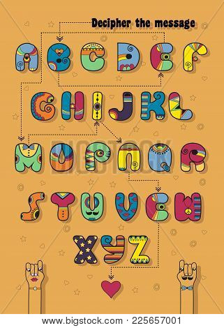 Artistic Alphabet With Encrypted Romantic