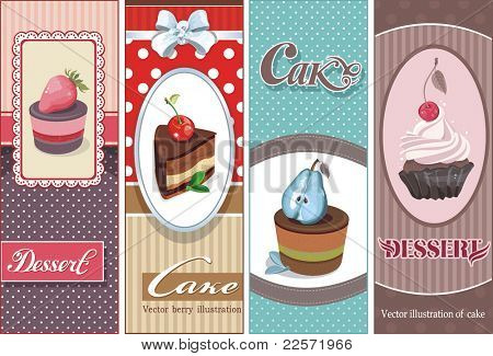 Beautiful Vintage card with sweet cupcake. Dessert set banners design invitation background. Vector happy birthday Illustration.