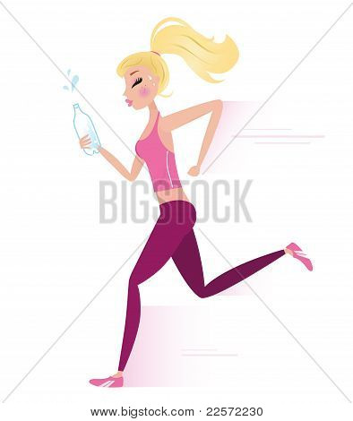 Young Sporty Woman Jogging Or Running Isolated On White.