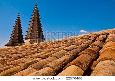 Church roof with little towers