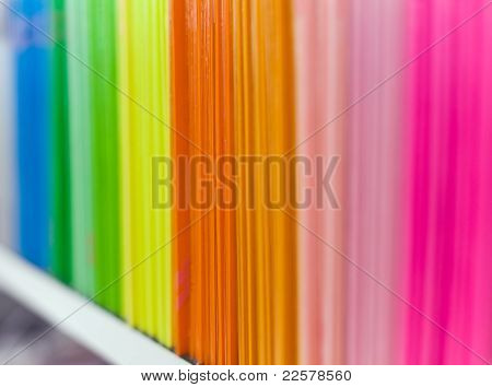 Colorful File Covers On The Bookshelf At Archive