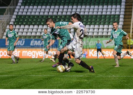 KAPOSVAR, HUNGARY - JULY 30: Walter Fernandez (in white 29) in action at a Hungarian National Championship soccer game - Kaposvar (green) vs Videoton (white) on July 30, 2011 in Kaposvar, Hungary.