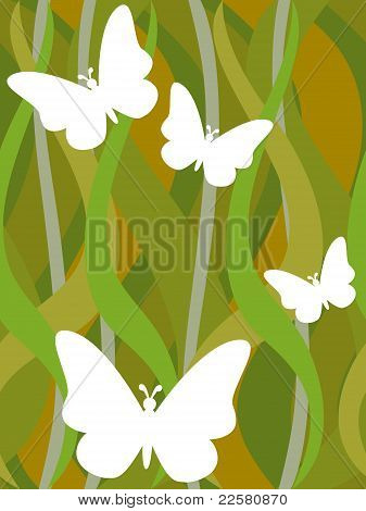Butterflies On Seamless Dark Green Wavy Pattern