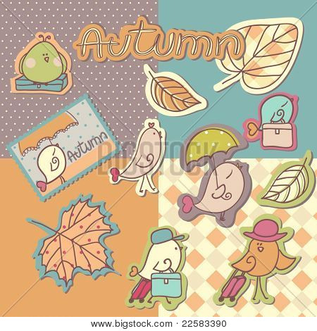 autumn birds scrapbook elements