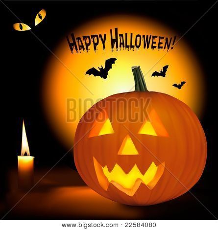 Halloween background with scary pumpkins, bats, cat eyes and a candle. Vector.