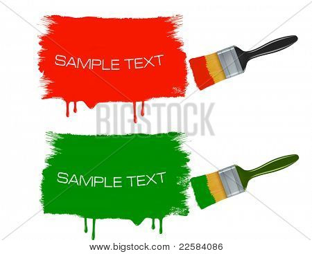 Colorful banners with paintbrushes. Vector.
