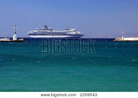 Cruise Ship Near Mykonos Island, Greece