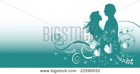 kissing couple with flowers, vector illustration