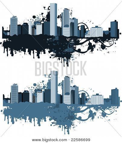 Panorama of the big city. Grunge styled. Urban background. Raster version of vector