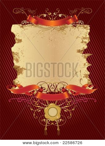 Grunge decorative banner. It can be used for superscribe. Floral elements and wax seal.