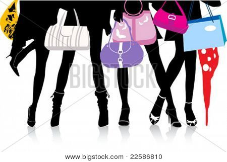 Vector illustration, woman sexy legs with bags. Shopping