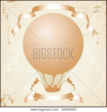 Retro hot air balloon. Grunge version. Vector illustration.