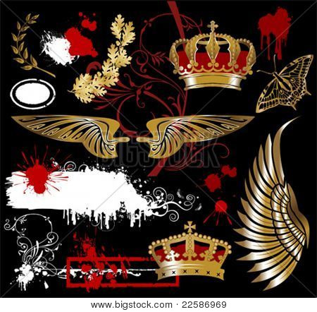 design elements with wing, crown, butterfly, oak leaves and laurels, vector illustration