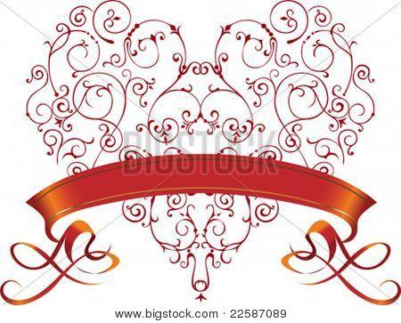 Imagem de ornamento de filigrana. Coração vermelho com fita. Ilustração vetorial.