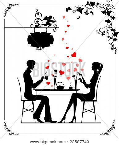 Silhouette of the couple in the cafe, raster version of vector illustration