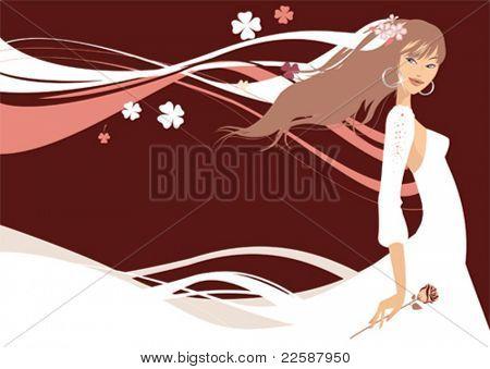 Schöne Braut. Vektor-illustration