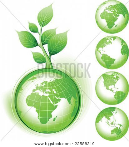 Green Earth symbol, vector illustration. Base map generated using map data from the public domain. (www.diva-gis.org)