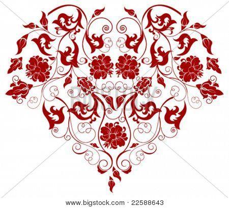 Coração vermelho com ornamentos de filigrana, escala de imagens vetoriais para qualquer tamanho
