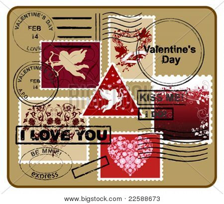 Design elements for envelope.  Valentine's day concept. Vector images scale to any size.
