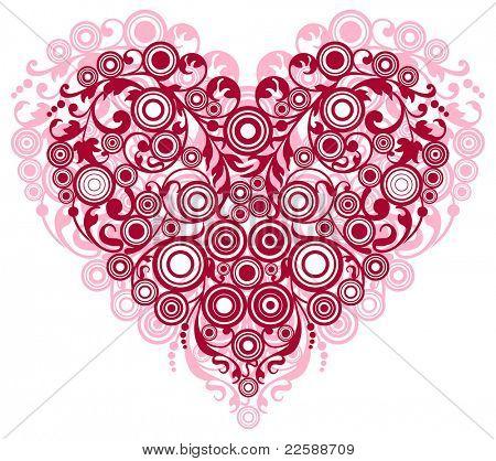 Coração vermelho com ornamentos de filigrana, ilustração