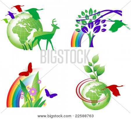 Set of ecology icons, vector images scale to any size.