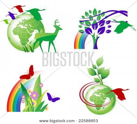 Set of ecology icons, raster version of vector illustration.