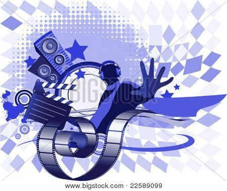 Mixing music concept. All elements and textures are individual objects. Vector illustration scale to any size.