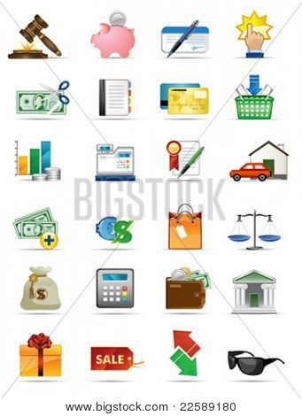 Vector icons series. All elements and textures are individual objects. Illustration scale to any size.