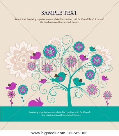 Tarjeta de felicitación de Pascua. Todos los elementos y texturas son objetos individuales. Escala de ilustración del vector a