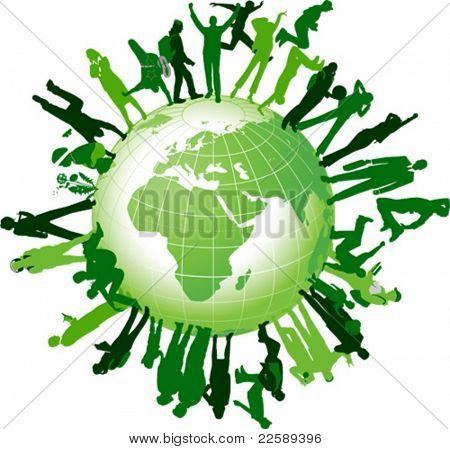 Global community. All elements and textures are individual objects. Vector illustration scale to any size.