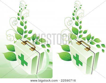 Eco medic background. Raster version of vector illustration.