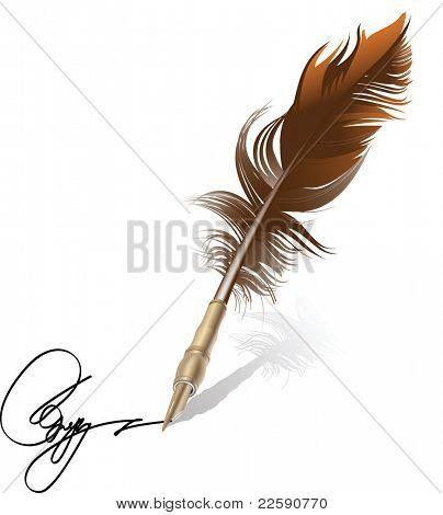 Retro pen. Raster version of vector illustration.