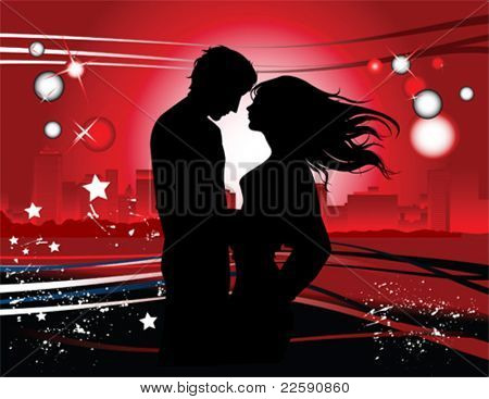Kissing couple. Valentine's background. All elements and textures are individual objects. Vector illustration scale to any size.