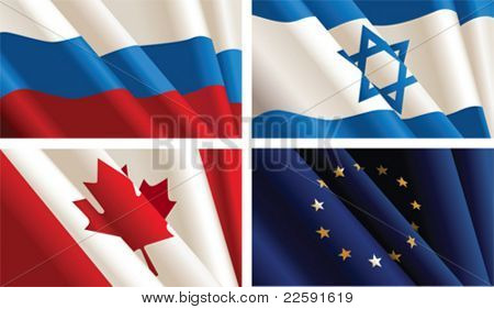 Set of flags.  All elements and textures are individual objects. Vector illustration scale to any size.