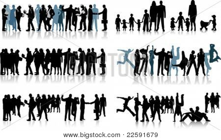 Huge crowd. All elements and textures are individual objects. Vector illustration scale to any size.