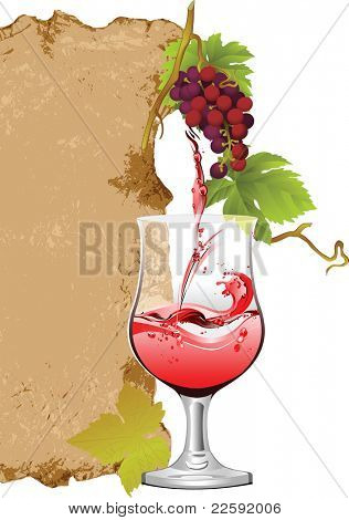 Design for wine list.  Raster version of vector illustration.