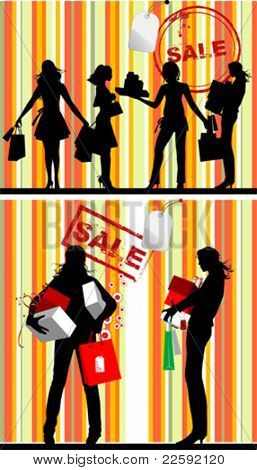 Black Silhouettes, Shopping Women. All elements and textures are individual objects. Vector illustration scale to any size.