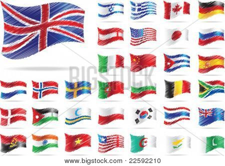 Set of flags. All elements and textures are individual objects. Vector illustration scale to any size